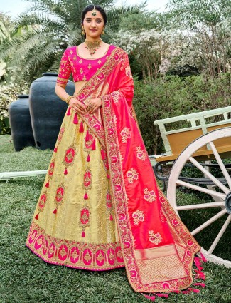 Eminent wedding wear semi stitched lehenga choli in lime yellow