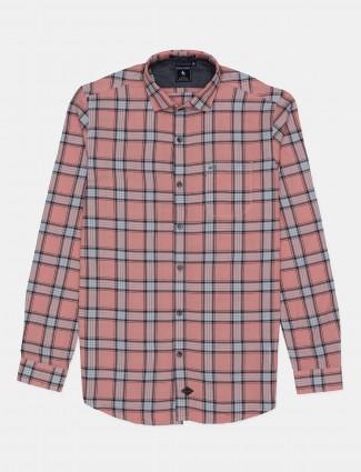 Eqiq casual wear peach checks shirt