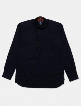 Eqiq navy solid full sleeve cotton shirt