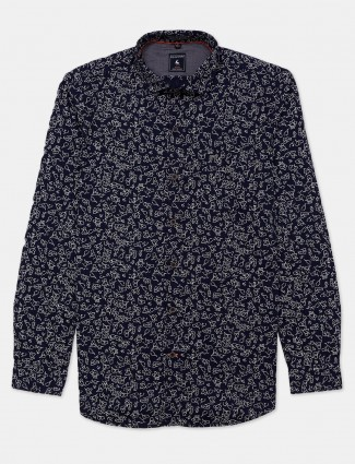 Eqiq printed navy slim collar shirt