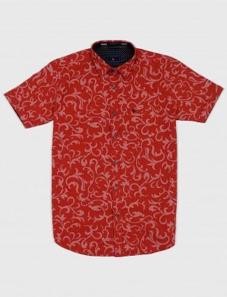 EQIQ rust orange printed cotton shirt