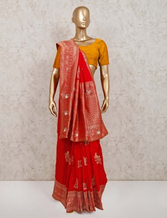 Exclusive red colour silk saree for festive