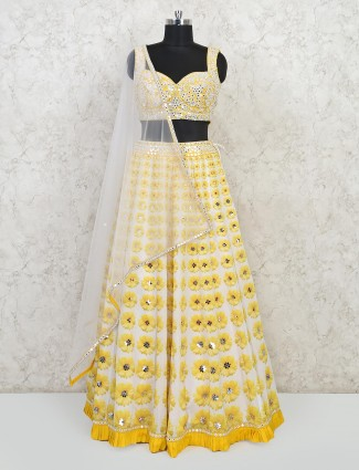 Exclusive yellow cotton silk wedding wear lehenga