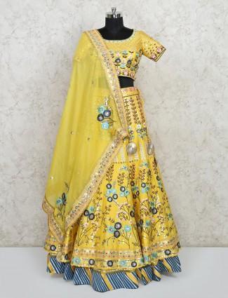 Exclusive yellow designer silk wedding lehenga choli