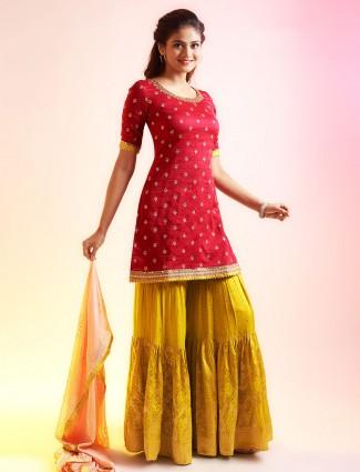 Fabulous magenta and mustard punjabi style festive wear salwar suit