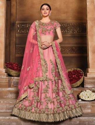 Fabulous wedding wear semi stitched lehenga choli in tomato red color