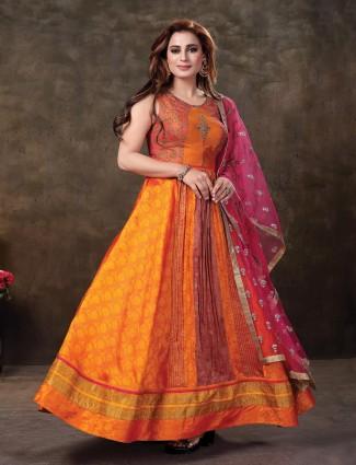 Fantastic orange cotton silk anarkali suit