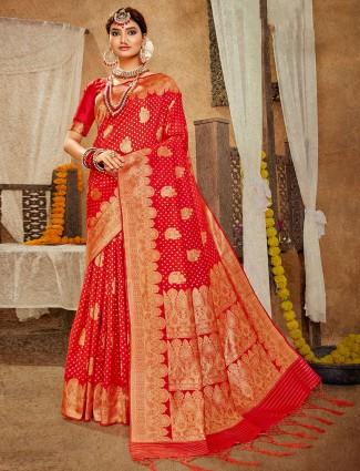 Fashionable red banarasi silk wedding wear saree