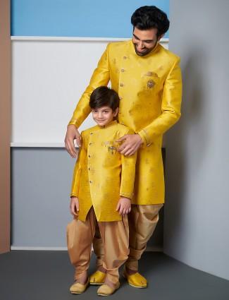 Father & Son yellow wedding wear indo western