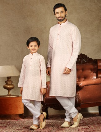 Father and son matching cotton peach kurta suit