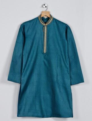 Festive function green textured cotton kurta suit