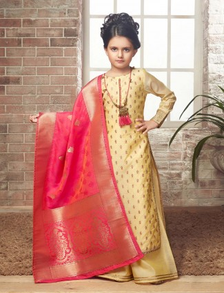 Festive function yellow hue palazzo suit