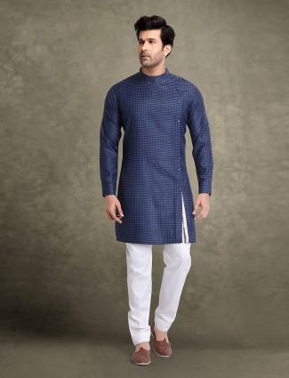 Festive occasion navy printed kurta suit
