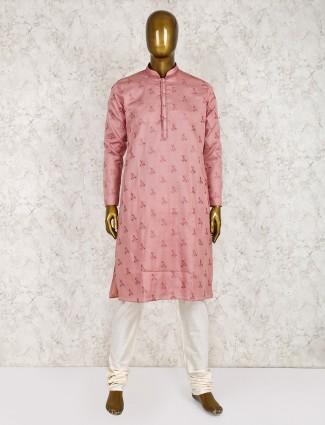 Festive occasion pink color cotton silk kurta suit