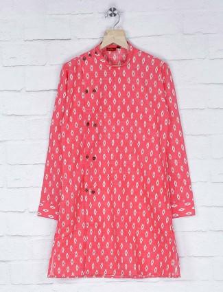 Festive pink printed bandhgala kurta suit
