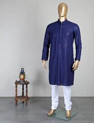 Festive special navy cotton kurta suit