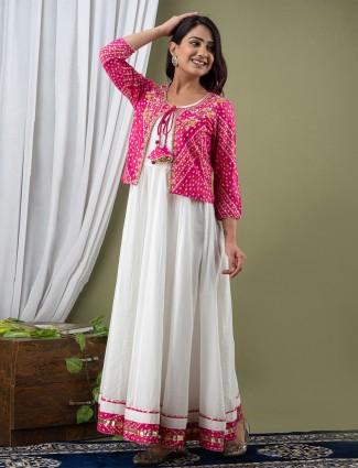Festive wear anarkali style white cotton kurti for women