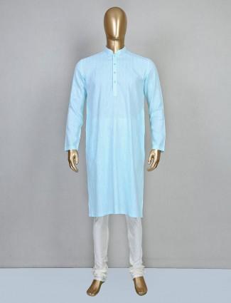 Festive wear aqua cotton kurta suit