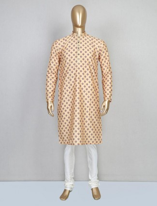 Festive wear beige cotton mens kurta suit