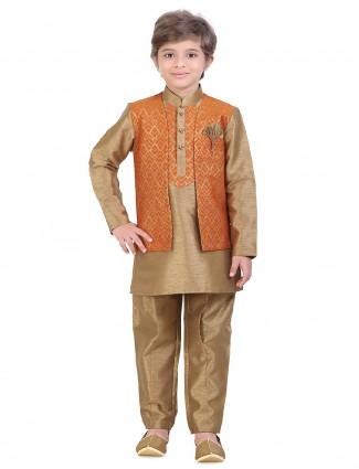 Festive wear beige waistcoat set