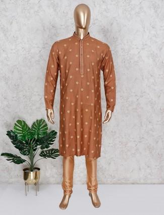 Festive wear brown cotton kurta suit