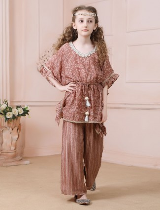 Festive wear brown cotton palazzo suit for girls
