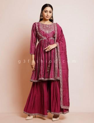 Festive wear cotton bandhej sharara in purple color