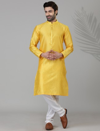 Festive wear cotton silk kurta suit in yellow
