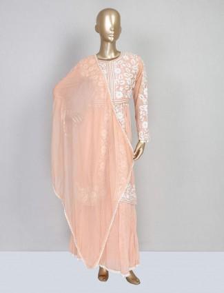 Festive wear designer peach sharara suit