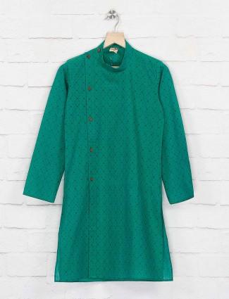 Festive wear green color kurta suit