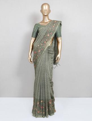 Festive wear latest olive saree in cotton