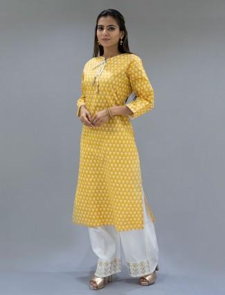 Festive wear mustard printed cotton punjabi style palazzo suit