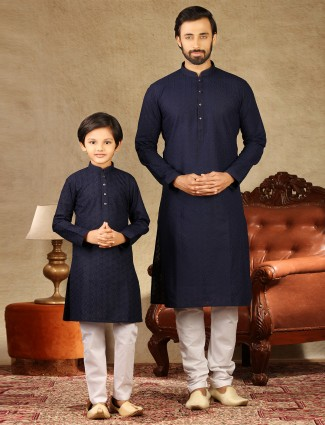 Festive wear navy hue stand collar father and son kurta suit