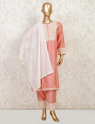 Festive wear onion pink colored palazzo suit in cotton