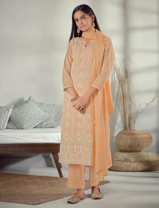 Festive wear orange cotton pant suit