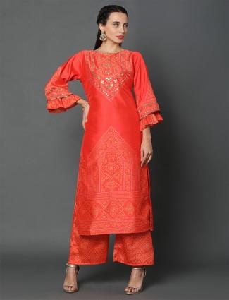 Festive wear orange dupion silk festive wear suit