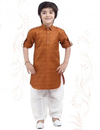 Festive wear pathani suit in brown cotton fabric