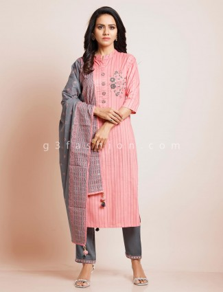 Festive wear pink palazzo suit in cotton