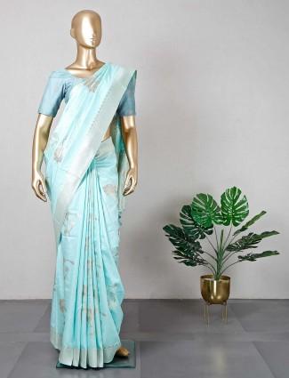 Festive wear sea green silk saree