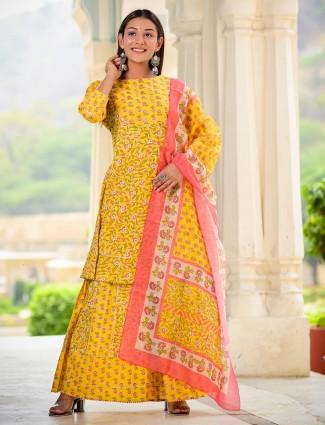 Festive wear yellow cotton sharara suit