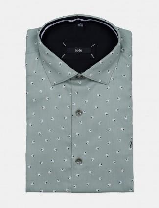 Fete green hued printed cotton shirt