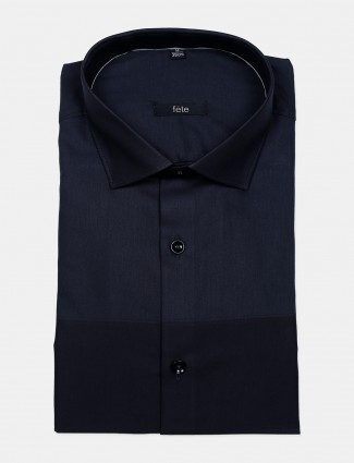 Fete printed navy cotton party wear mens shirt