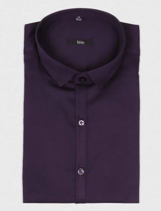 Fete purple cotton party shirt