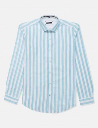 Fete slim fit aqua stripe mens shirt