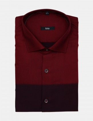 Fete solid maroon formal shirt for mens