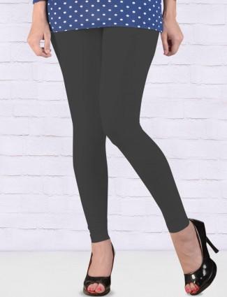 Go Colors grey solid comfortable ankal length leggings