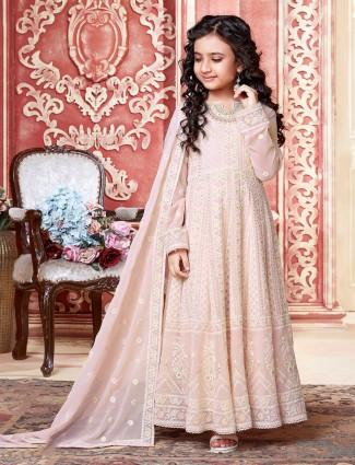 Floor length Anarkali suit in Baby pink tint