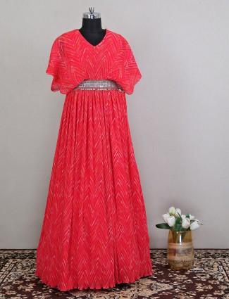 Floor-length magenta hue anarkali dress for women