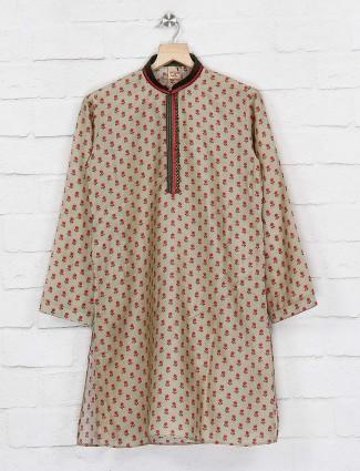 Flower printed cotton beige color kurta suit