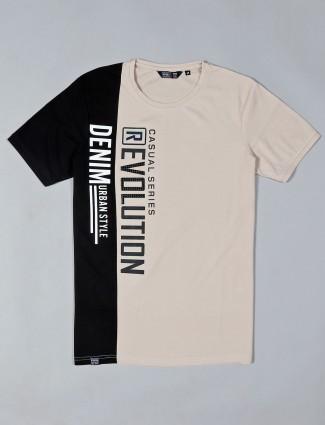Freeze beige cotton slim fit mans t-shirt